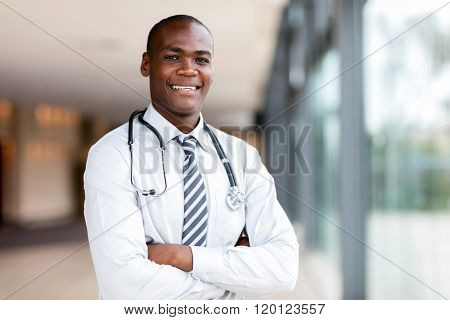 good looking black medical doctor with arms crossed