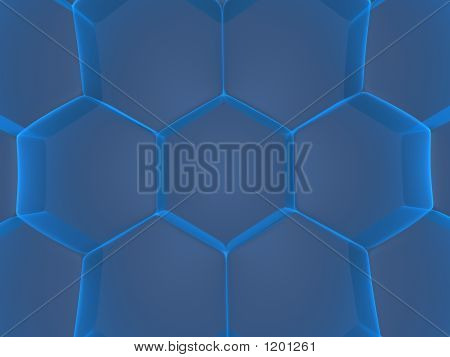 3d rendered illustration of blue abstract cells poster