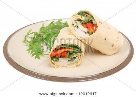Thai-spiced chicken in a soft tortilla wrap