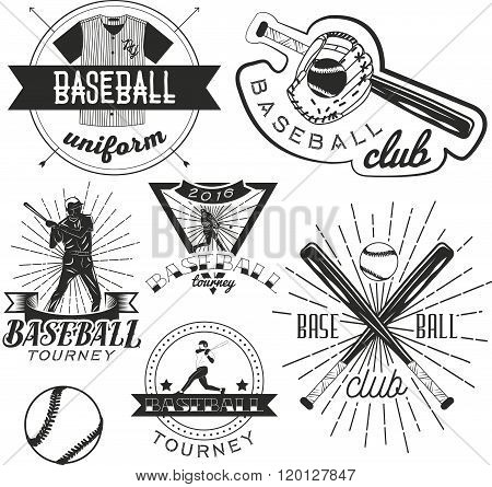 Vector set of baseball labels in vintage style. Sport concept. Bat and ball.