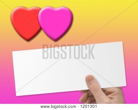 Hearts And Postcard In Hand