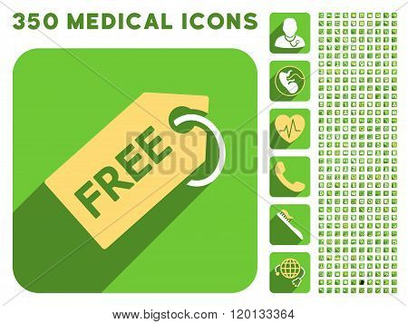 Free Tag Icon and Medical Longshadow Icon Set
