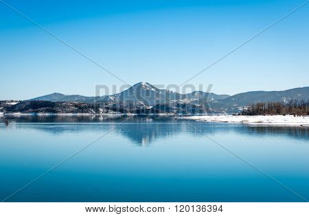 Lake Plastira On Winter