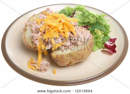 Jacket potato with tuna mayonnaise and cheese.