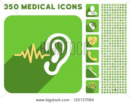 Listen Icon and Medical Longshadow Icon Set