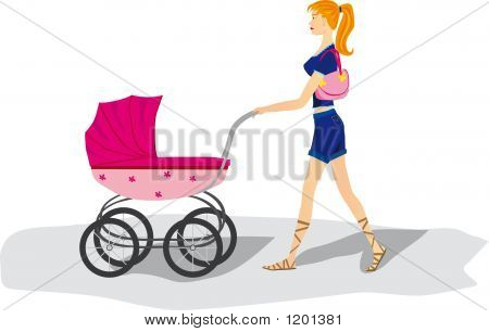 Girl With Stroller