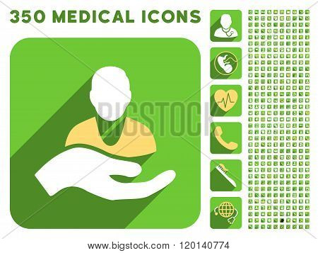 Patient Assistance Icon and Medical Longshadow Icon Set