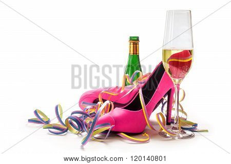 Women's Day, Ladies Pink High Heels Shoes, Champagne And Streamers For A Cheerful Party, Isolated On