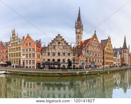 Panorama of Quay Graslei in Ghent town, Belgium