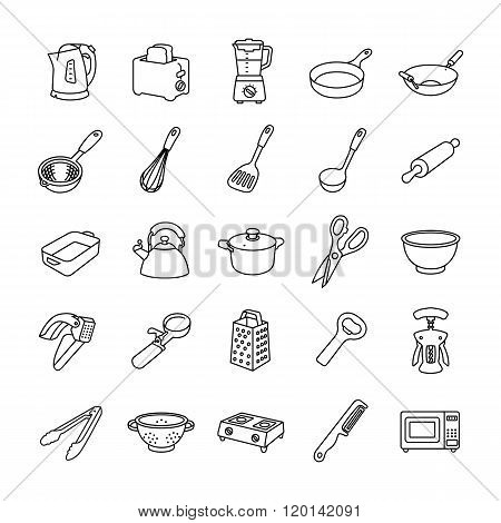 Kitchenware outlines vector icons