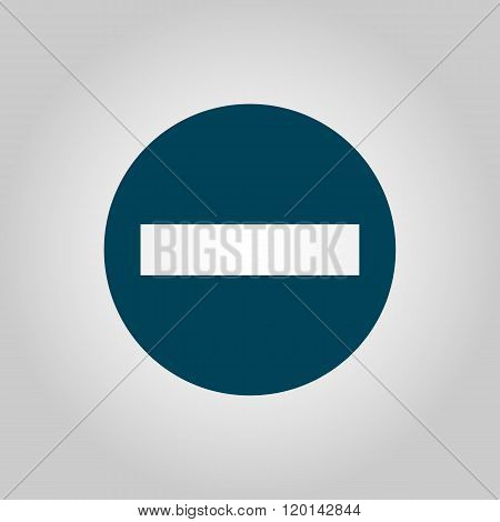 No entry icon on grey background blue outline large size symbol poster