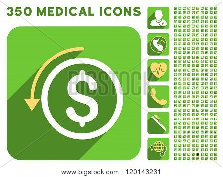 Refund Icon and Medical Longshadow Icon Set