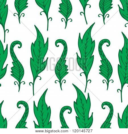 Repeating Floral And Feather Pattern. Seamless Texture With Green Leaves. Bright Elements On White.