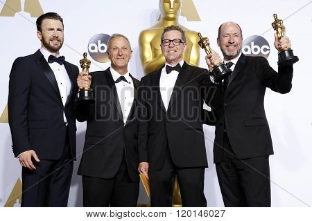 LOS ANGELES - FEB 28:  Chris Evans, Ben Osmo, Greg Rudloff, Chris Jenkins at the 88th Annual Academy Awards - Press Room at the Dolby Theater on February 28, 2016 in Los Angeles, CA