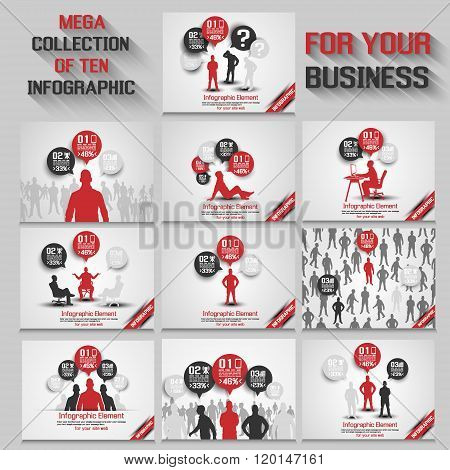 Mega Collection Of Ten Business Man Infographic Red New