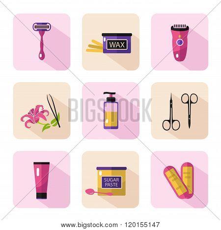 Big vector cosmetics icons set of epilation