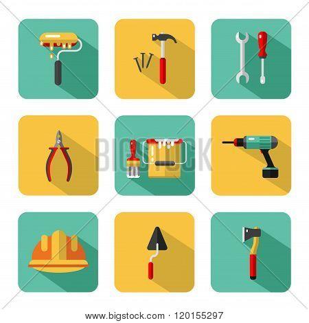 Big vector icons set of construction tools