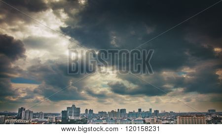 Dramatic sky over the city