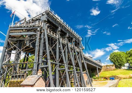 The Anderton Boat Lift which raises narrowboats between River Weaver the Trent and Mersey Canal. England United Kingdom.