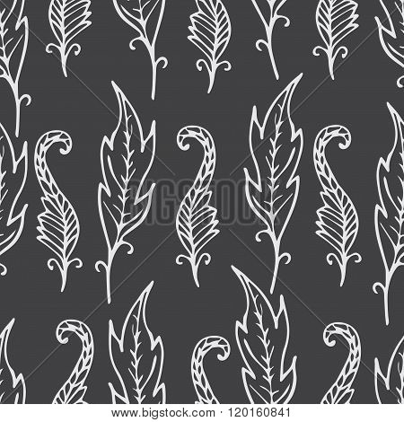 Repeating Floral And Feather Pattern. Seamless Texture With Leaves. Gray Background With White Doodl