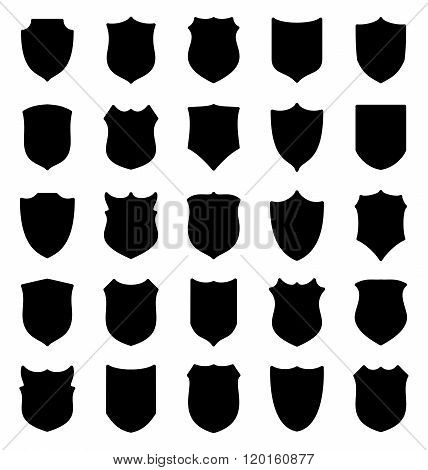 Large set of black shields silhouettes
