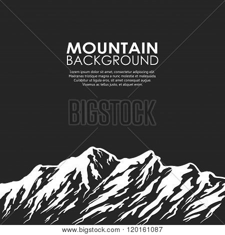 Mountain range isolated on black background