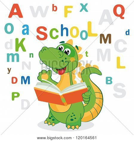 Funny Dinosaur Learn To Read Book And Colored Letters On A White Background. Cartoon School Vector.
