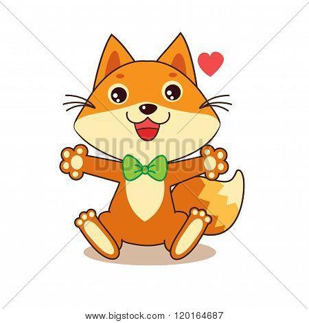 Cute Funny Fox Cheerful Character. Cartoon Vector Funny Fox Memes. Funny Foxy Pics. Baby Animals. Fox costume.