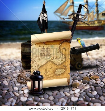 Pirate Landscape On The Beach