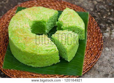 Pandan chiffon cake Traditional Indonesian desert Stone background