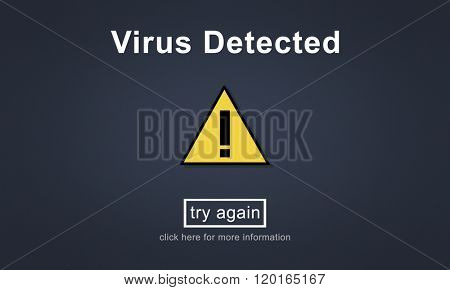 Virus Detected Alert Hacking Piracy Risk Shield Concept poster