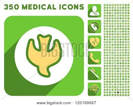 Falling Soul Icon and Medical Longshadow Icon Set
