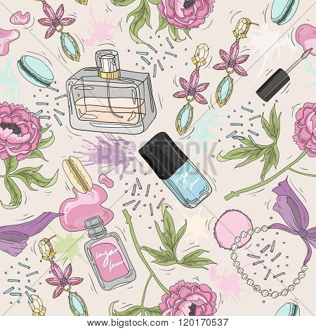 Seamless beauty pattern with make up perfume nail polish flowers jewelry. Background for girls or women.