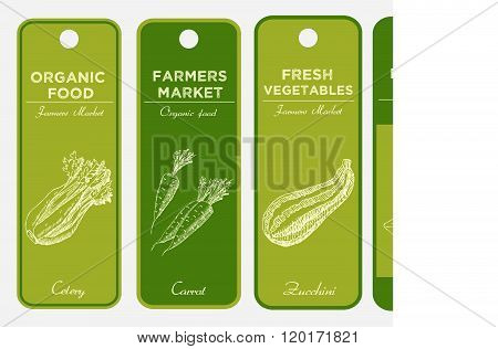 Hand drawn labels set with vegetables. Celery, carrots, zucchini, paprika. Can be used for vegan products, brochures, banner, restaurant menu, farmers market and organic food store