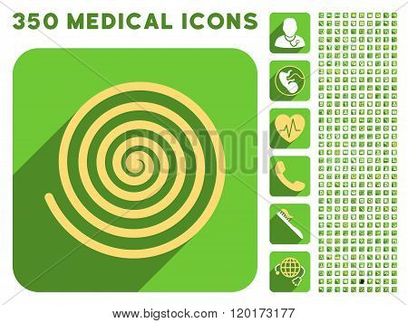 Hypnosis Icon and Medical Longshadow Icon Set