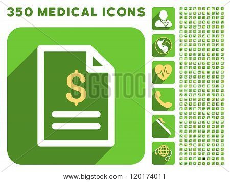 Invoice Page icon and 350 vector medical icons collection. Style is white and yellow flat symbols on rounded square green buttons with longshadow. poster