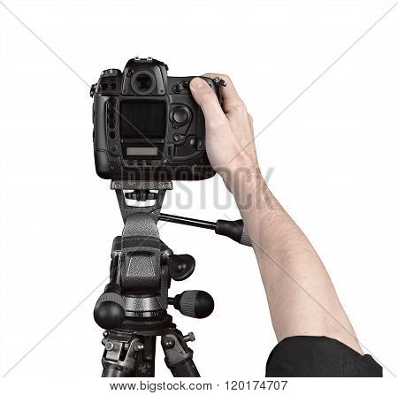 Hands Holding A Professional Camera
