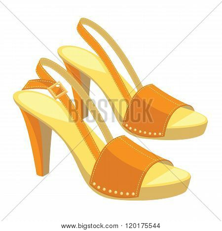 orange open-back shoes with anckle strap