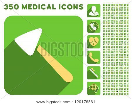 Neurologist Hammer Icon and Medical Longshadow Icon Set