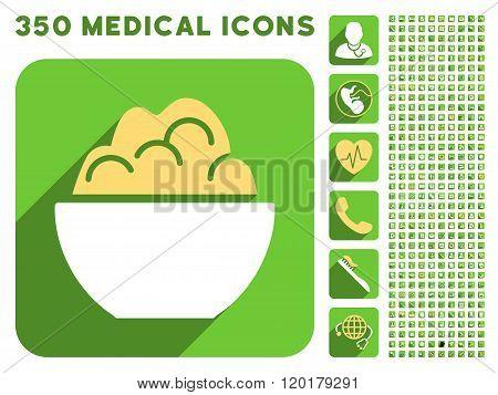 Porridge Bowl Icon and Medical Longshadow Icon Set