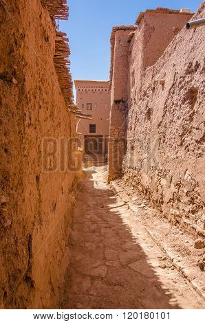 Street of Ait Benhaddou fortified city, kasbah in Ouarzazate, Morocco