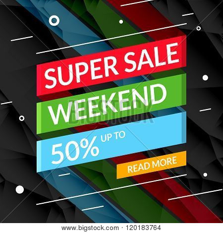 Super Sale poster text on ribbon. Sale promotional background poster for store shop market