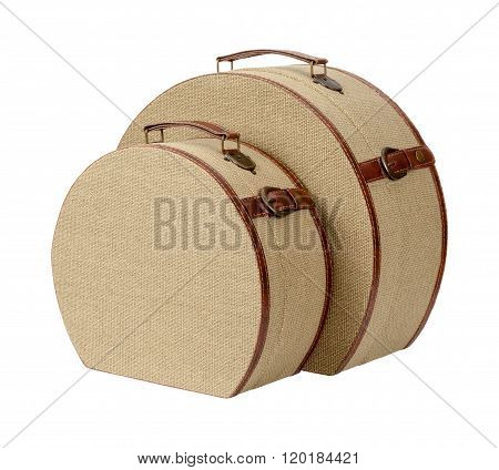 Two Round Deco Burlap Suitcases