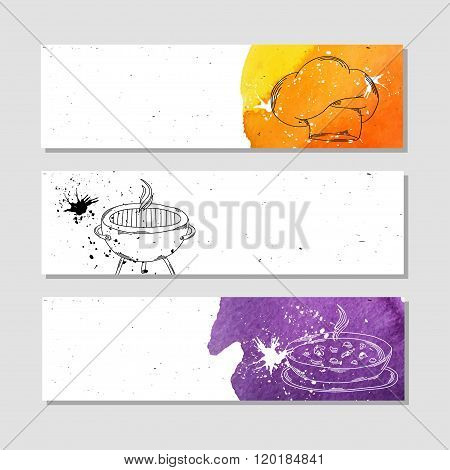 Isolated Advertising Banner In Paper Style With Colorful Watercolor Stains. The Attributes For The C