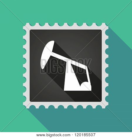 Long Shadow Mail Stamp Icon With A Horsehead Pump