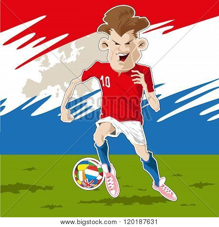 Soccer player kicking the ball with determination. poster