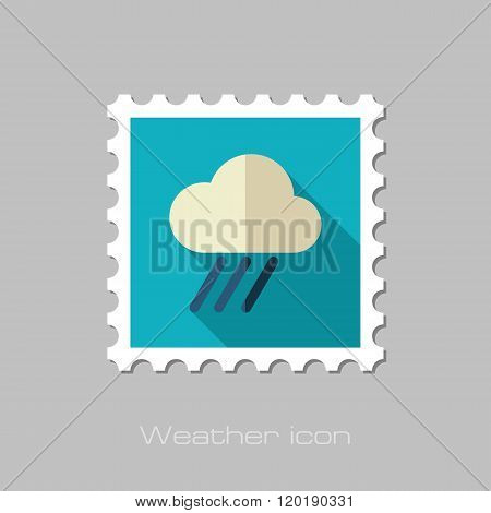 Rain Cloud Flat Stamp. Downpour, Rainfall. Weather