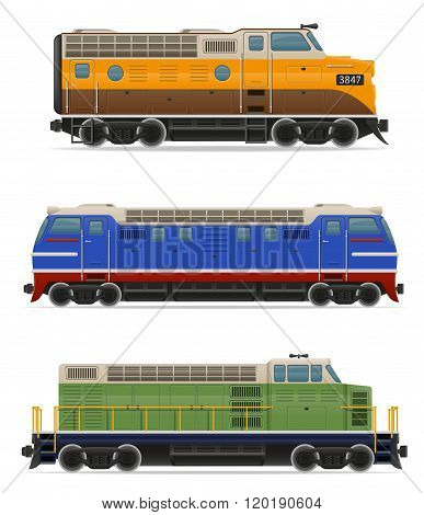 Set Icons Railway Locomotive Train Vector Illustration
