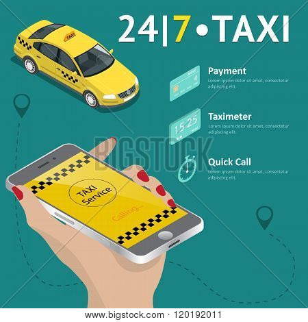 Taxi service. Taxi mobile app template set. Smartphone and touchscreen, map and pointer, gps navigat