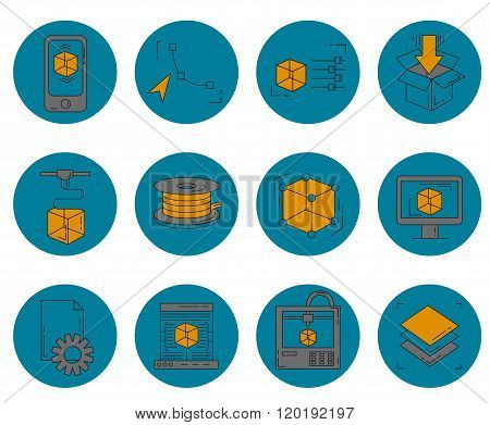 Icons set - vector icons in linear style